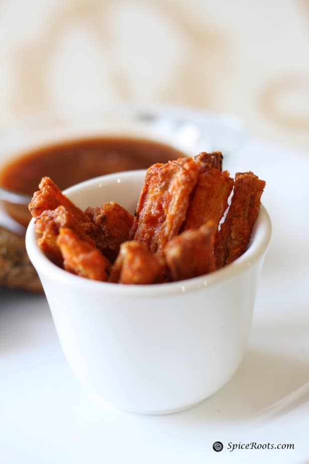 Deep fried lotus roots or Kashmiri nadir monji