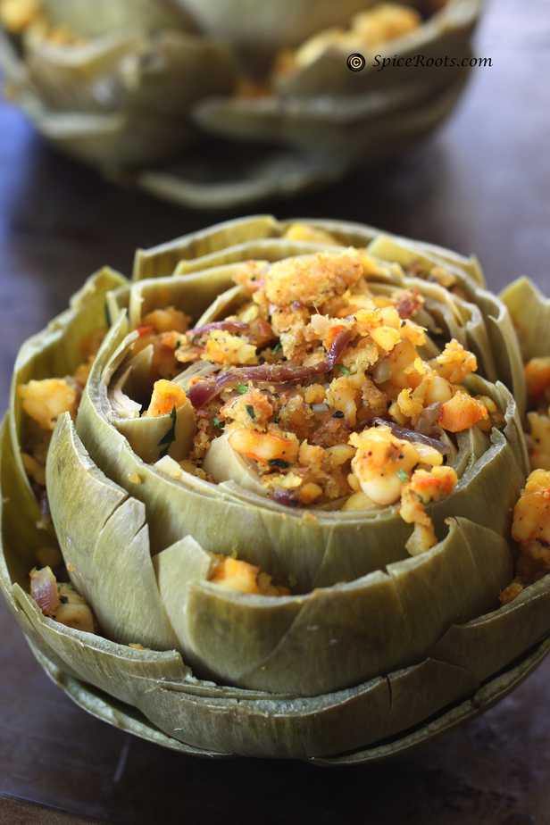 Shrimp stuffed Artichoke