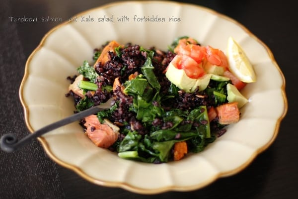 Tandoori Spiced Salmon with kale and black rice