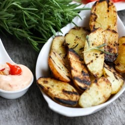 Grilled Rosemary Potatoes with Peruvian Sweety Drop Pepper Aioli
