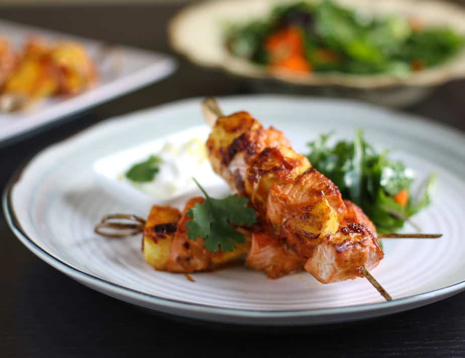 salmon and pineapple kebabs