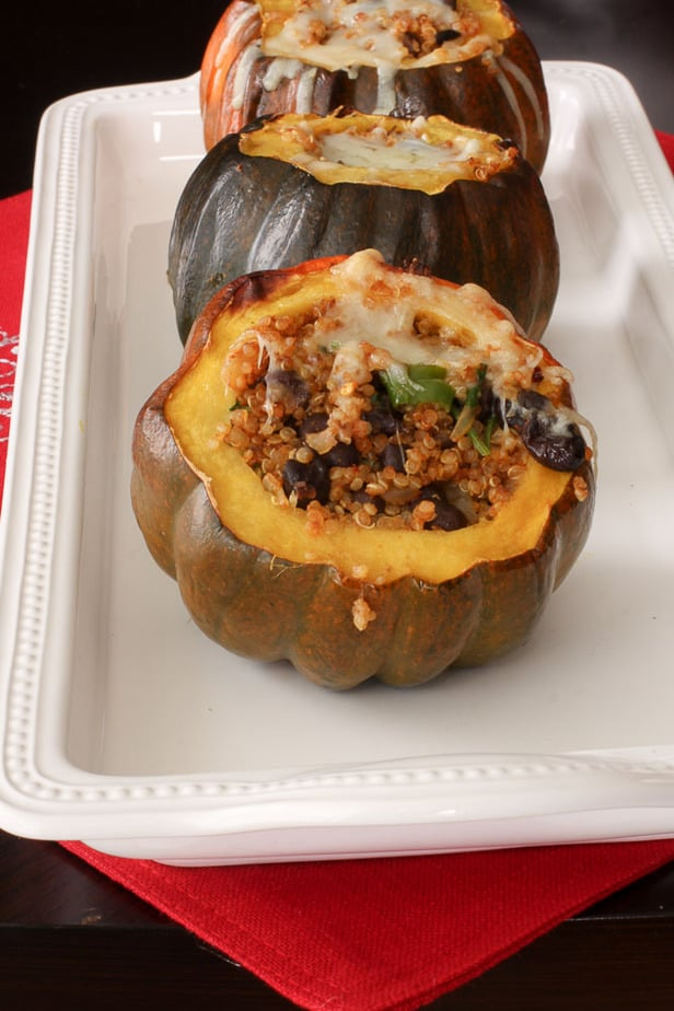 Quinoa and black bean Stuffed Acorn Squash