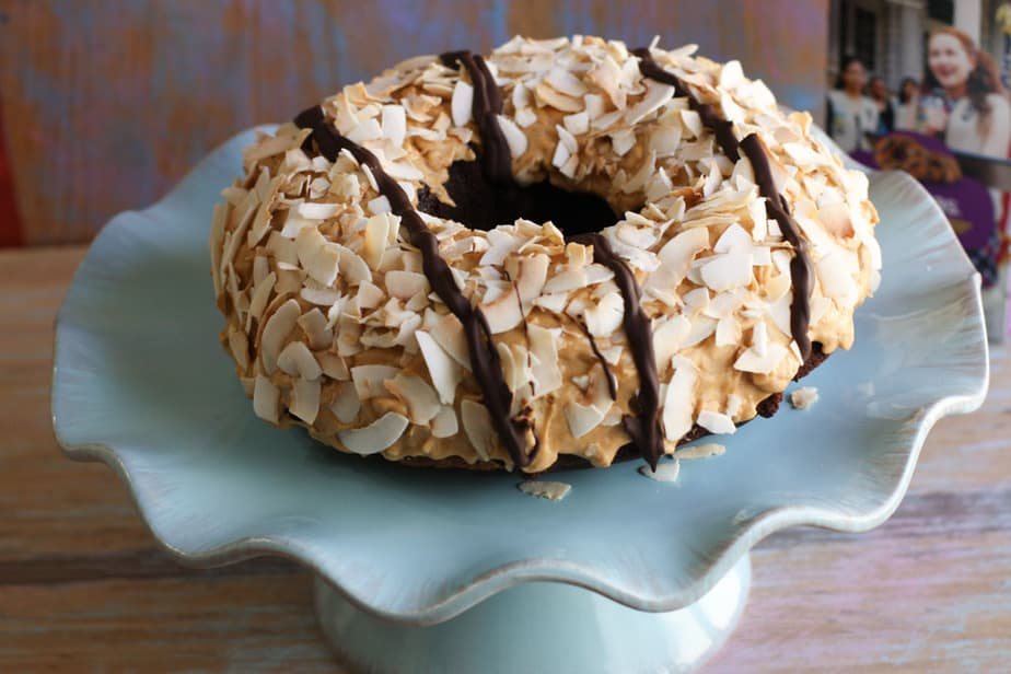 Coconut Caramel Samoas Bundt cake