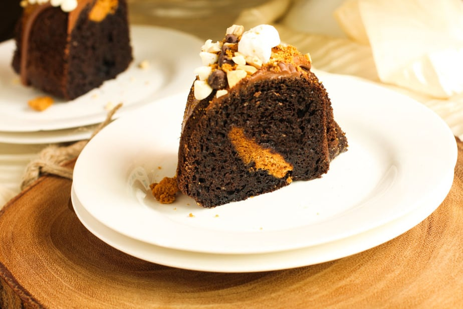 Biscoff and Chocolate Rocky Road Bundt Cake