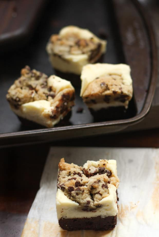 Cookie Dough Brownie and Cheesecake Bars
