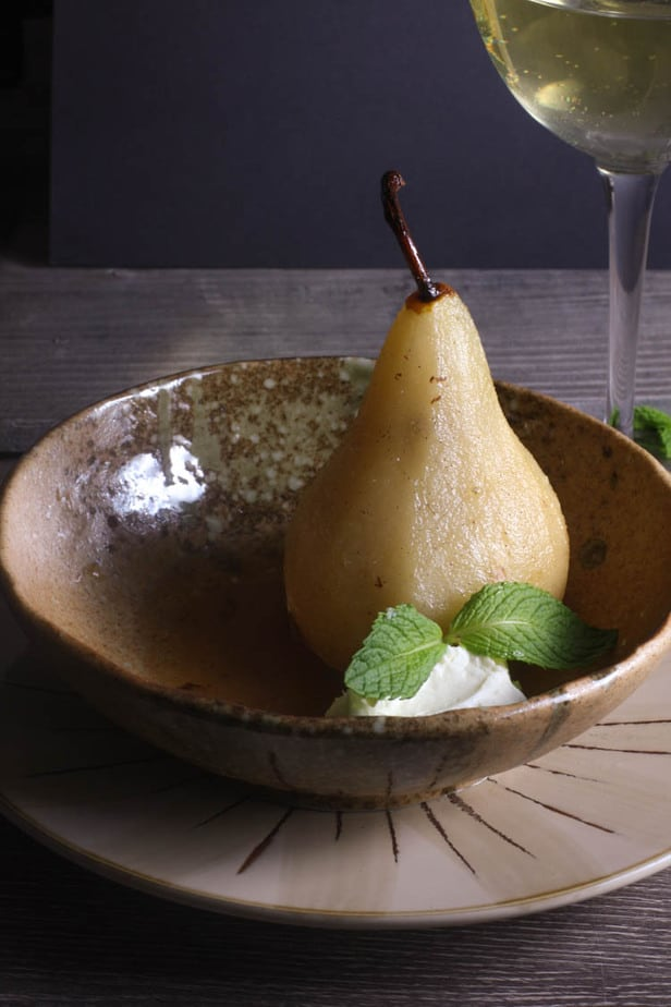 White Wine Poached Pears