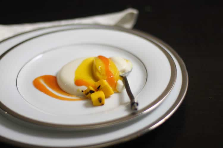 Buttermilk Panna Cotta with Grilled Mango Sorbet