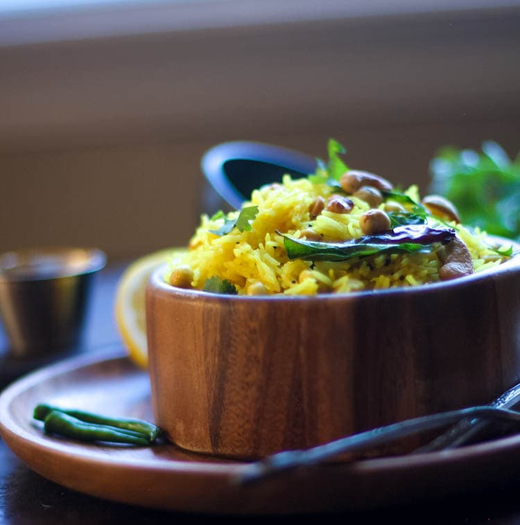 Lemon Rice – South Indian Rice With Lemon and Peanuts