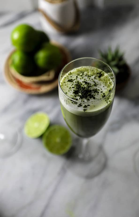 Matcha pisco green tea cocktail for Mixed drinks with green tea