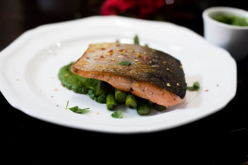 Pan Seared Salmon and Asparagus with Mojo Verde