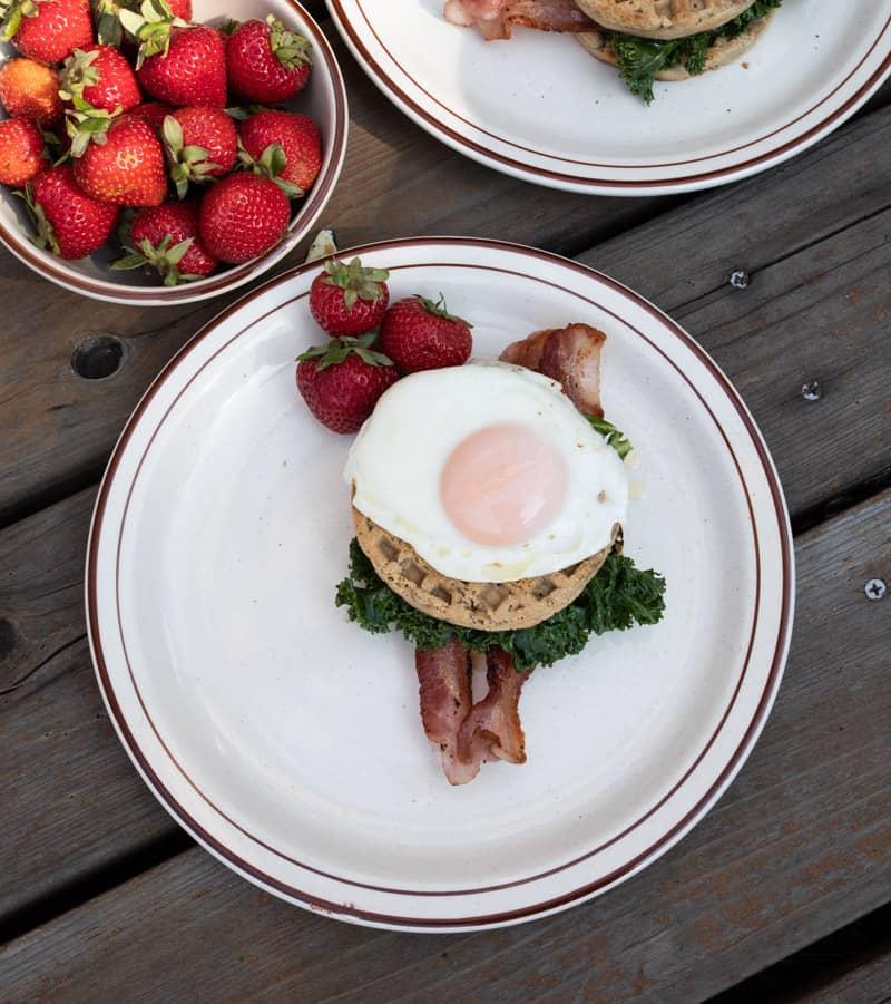 Paleo Bacon Kale and Egg Waffle Sandwich