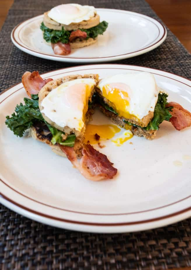 Paleo Bacon Kale and Egg Waffle Sandwich