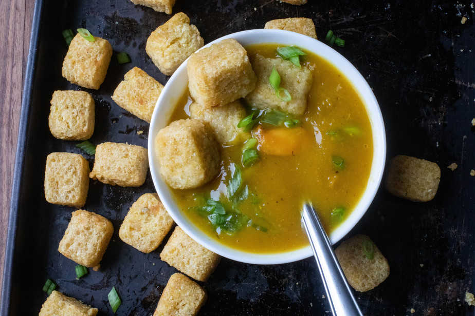Vegan Curried Butternut Squash Soup with Millet Tots