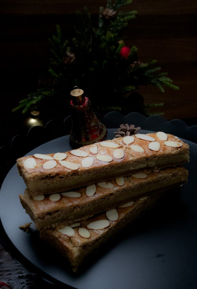 Bars of Gevulde Speculaas, spiced cookies filled with almond paste for Holidays