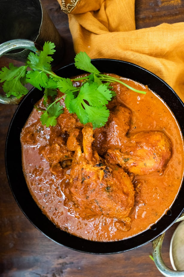chicken cooked in a creamy tomato sauce