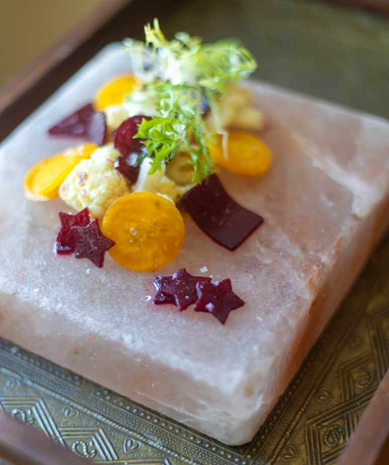 Cauliflower and beetroots with Frisee