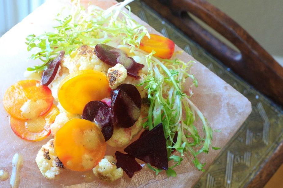 Roasted cauliflower and beetroot salad.