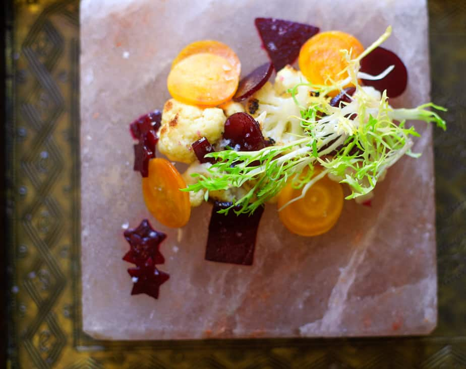 Beetroot and roasted cauliflower salad with frisee