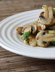 Mushroom Stir fry with green onions and cumin