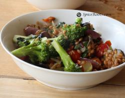 Warm Wheat Berry Salad with Broccoli and Eggplants